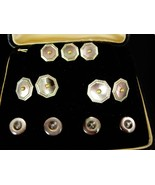 Rolled Gold Cufflinks Tuxedo set Vintage GROOM Krementz silver Seed pear... - $475.00