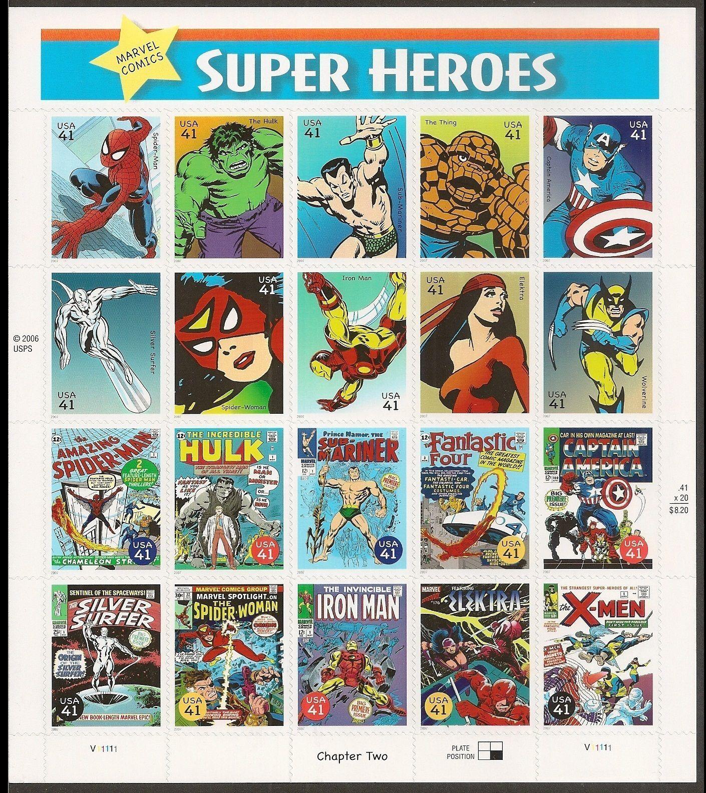 Marvel Comics Super Heroes Sheet of Twenty 41¢ Stamps Scott 4159 - Stuart Katz