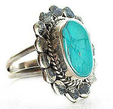 Sterling Silver Ring With Turquoise Stone & Sun Design Ethnic Styling Ja... - $29.69