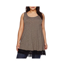 a.n.a Crochet-Trim Tank Top Plus Size 1X New Black/Tan Striped Msrp $42.00 - $14.99