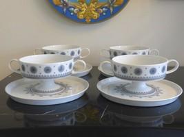 ROSENTHAL TAPIO WIRKKALA 4 ICE BLOSSOM 1960S PEDESTAL CREAM SOUP CUP & S... - $104.00