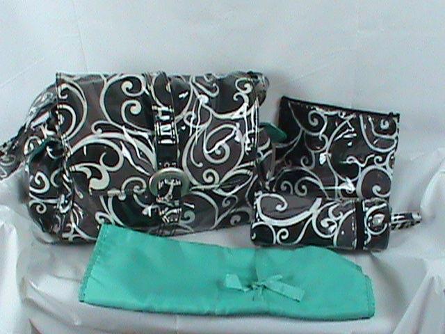 Kalencom New Orleans Laminated Diaper Bag Set Changing Pad Bottle Bag Wipe Bag