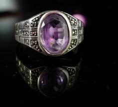 Vintage Amethyst Ring Sterling size 6 1/2 Hallamark W marcasite setting ... - $125.00