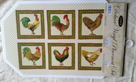 "Set of 2 Kitchen Deluxe Vinyl NON CLEAR Placemats (18"" x 12"") ROOSTERS - $7.91"