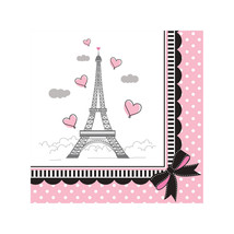 Party in Paris Birthday 18 Beverage Napkins Eiffel Tower - $3.51