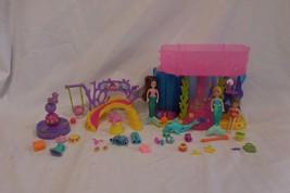 Polly Pocket Doll Mermaid Stars Spinning Seals Playset + Mermaid Stars fun park - $11.92