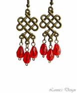 Red Teardrop Chandelier Earrings - $11.90+