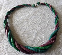 "Blue, Green and Purple Wooden Beaded Necklace 23"" - $7.50"