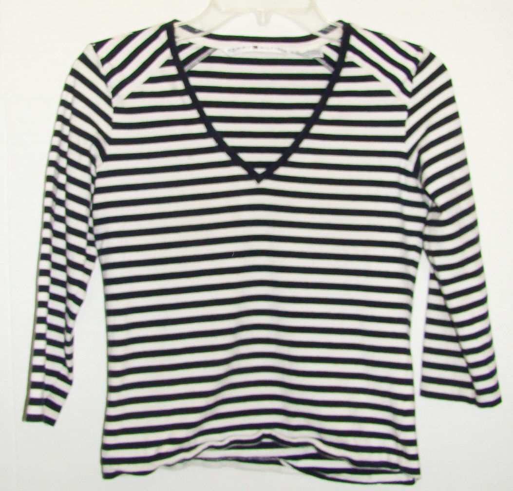 Tommy hilfiger girls long sleeve shirt size medium for Blue and white striped long sleeve t shirt