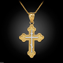 Gold Russian Eastern Orthodox Cross Pendant Necklace - $69.99+