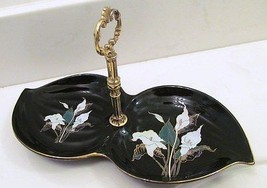 JAPAN MADE CLOISONNE LK BLACK FLOWERED CONDIMEN... - $49.94