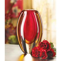 Red and Gold Sunfire Art Glass Vase Tabletop Centerpiece  - $37.95