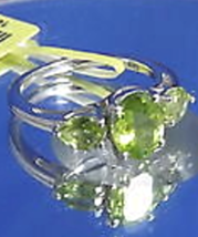 Size 5 Hebei Peridot (Oval 1.15 Ct) 3 Stone Ring in .925 Sterling Silver - $23.75