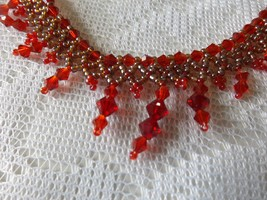 "Red and Gold Beaded Necklace 18.5"" - $6.00"