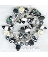 Black and White Roses Loaded Charm Bracelet - $59.99