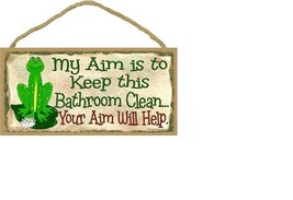 Frog MY AIM IS TO KEEP THIS BATHROOM CLEAN Your Aim Will Help Wood Plaqu... - $12.16