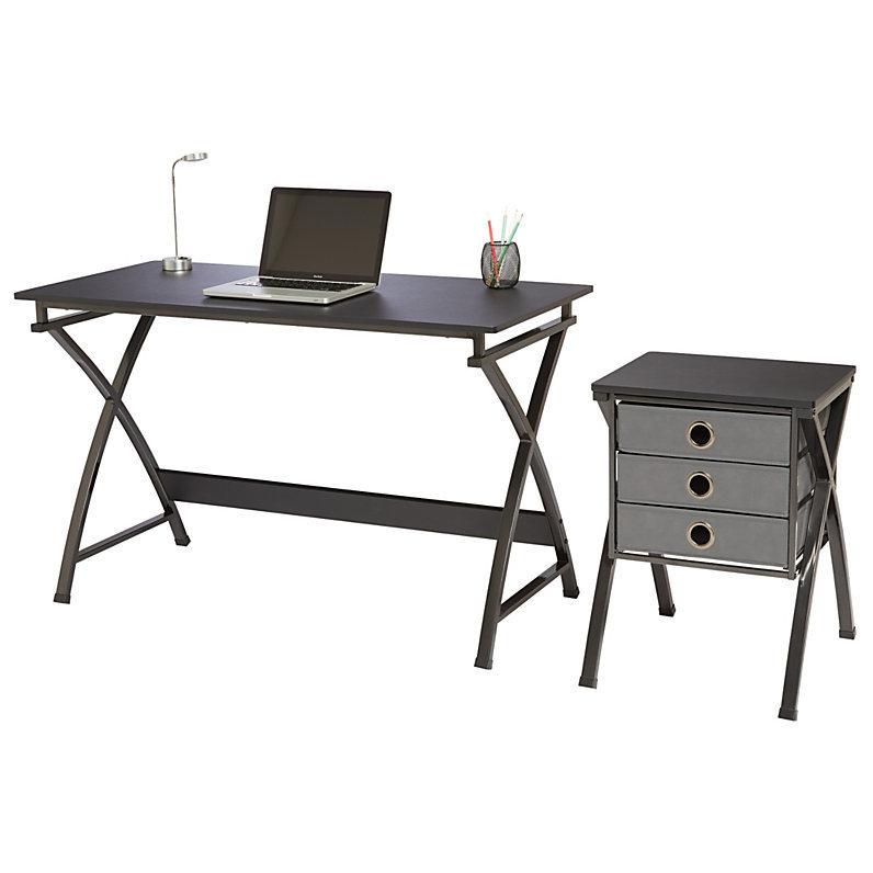 Brenton Studio X Cross Desk And File Set Black Desks