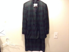 J. Gallery Jacket Skirt Suit Black Green Used Great Condition Women's Size 16