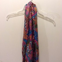 Great Used Condition Scarf 100% Silk Liz Claiborne Paisley Pink Blue Brown