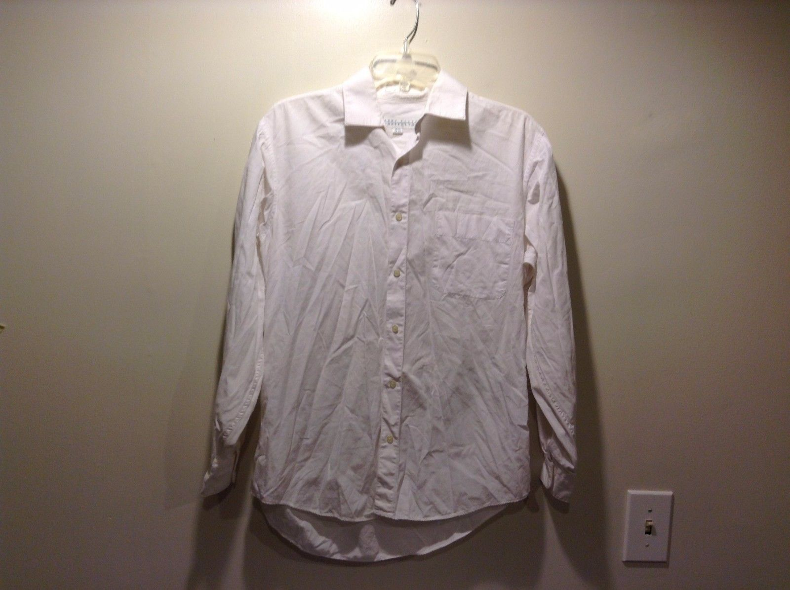 Men's Used Good Condition Button Up Perry Ellis Work Shirt Long Sleeve Size 15.5