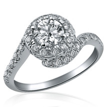 Natural Round Cut Halo 1.36 Ct Swirl Band Diamond Engagement Ring 14K Gold E/VS1 - $2,424.51