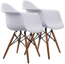 Chair Vintage Funky Modern Set 2 Armchair Kitchen Retro Dining Seat White Ret