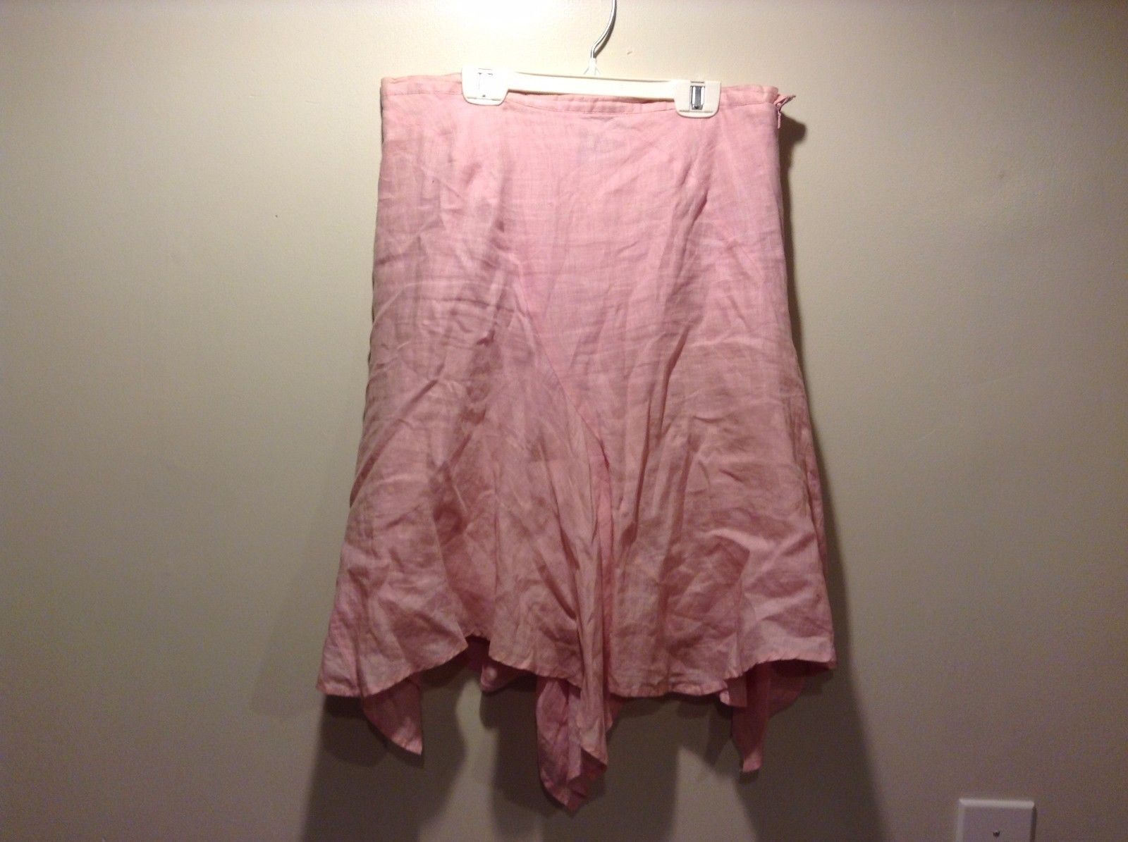 Women's Used Condition Lily Stanhope Size 8 Light Pink Ruffled Skirt Linen