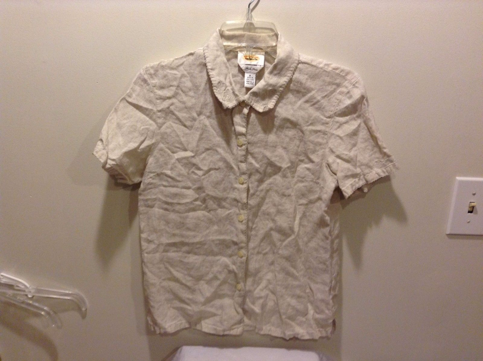 Women's Used Good Condition Talbots Irish Linen Size 8 Button Up Cream Embroider