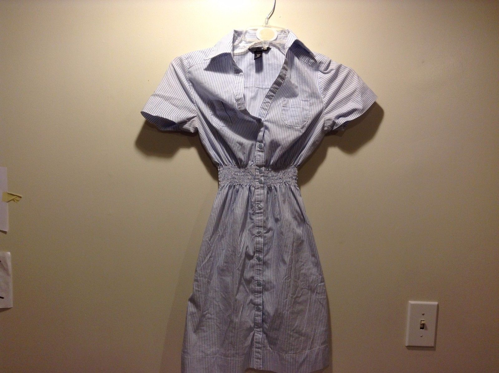 Women's Used Condition H&M Dress Women's Blue White Striped Button Up Size 6
