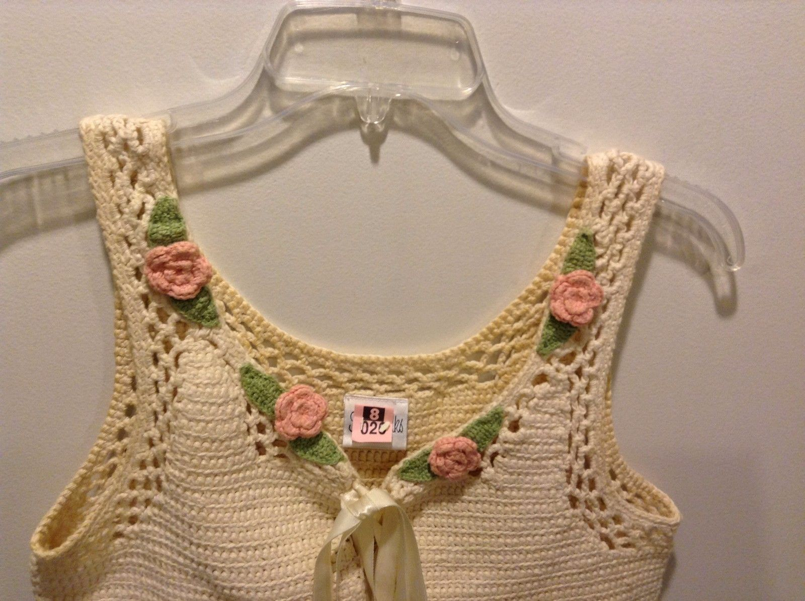 Women's Used Decent Condition Yellow Off White Crochet Vest Roses Tie Front