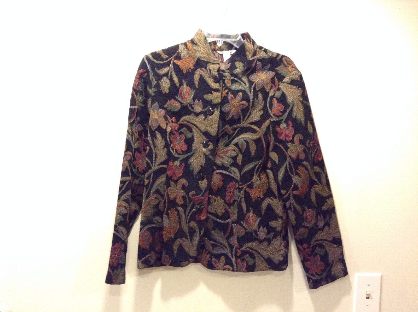 Women's Used Great Condition Black Flower Pattern Button Up Jacket Size Medium
