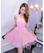pf099 sweet off neckline tunic dress w mesh dress, free size, pink - $25.80