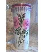 Sap Bucket Metal Vase Shabby Cottage HP Pink Roses - $19.99