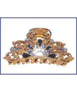 Hair Clamp Blue Swarovski Crystals Filigree Gold Tone Very decorative Ha... - $24.99