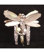 Hair Clamp Very Petite White Dragonfly Hair Decor with Crystals - $14.99