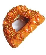 Hair Clamp Tangerine Orange Gold-filled Bead Fabric over Amber colored Lucite - $19.99