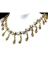 Wedding Necklace Set Darkened Gold Tone  Blue Crystals New - $54.99