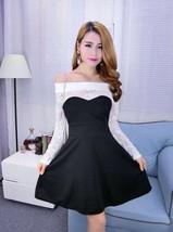 pf103 elegant lace & cotton splicing mini dress, free size, white/black - $25.80