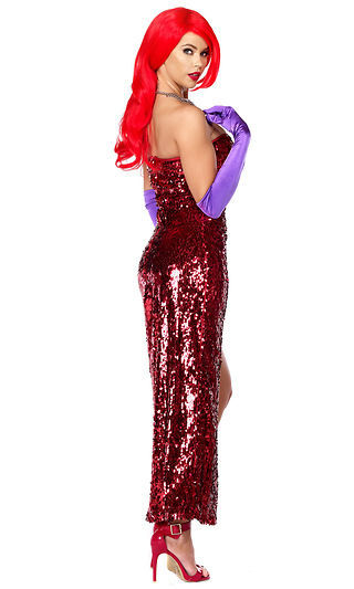 602505b22197 Forplay Sexy Toon Temptress Jessica Rabbit Red Sequin Dress Gown Women's  Costume