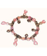 Women's B* CANCER AWARENESS PINK RIBBONS CHARM BRACELET - $7.99