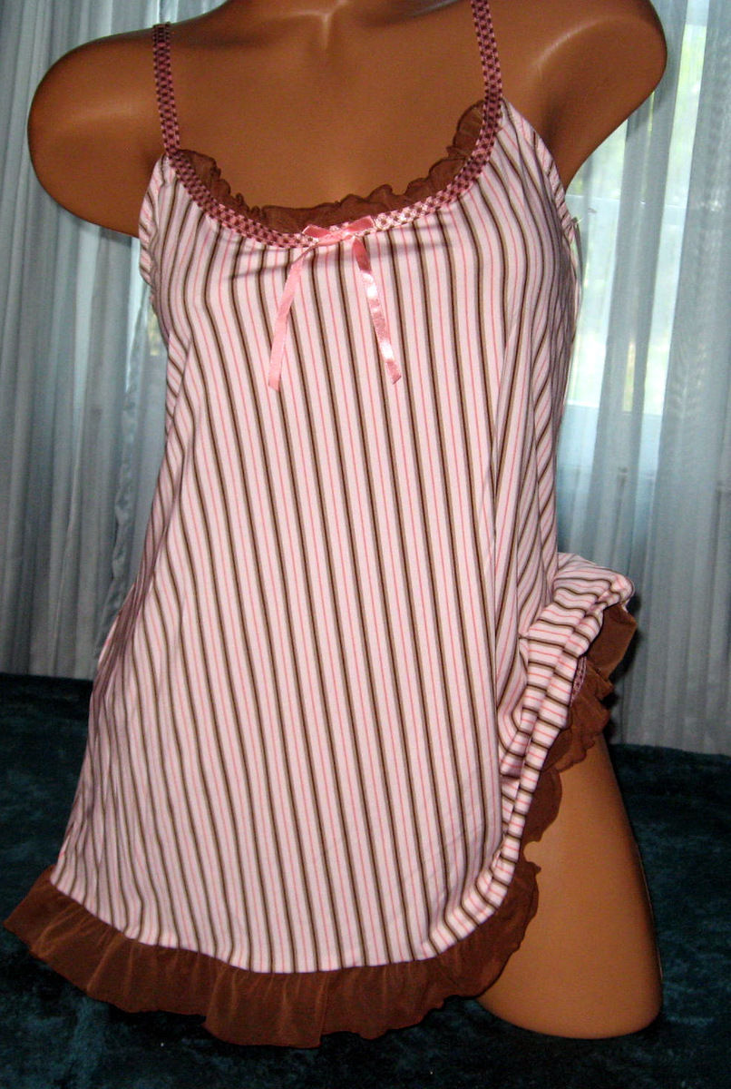 Pink Stripe 2 Piece Nightgown Babydoll Short Gown Panty M L Stretch