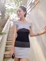 pf105 crossed shoulder skinny dress, spell color, free size, gray/black - $18.80