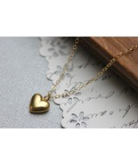 Gold Heart Necklace Puff Heart Gold Heart Pendant Valentine Heart Necklace - $28.00