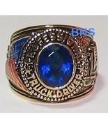 Trucker Truck Driver Ring Dark Blue CZ Size 10  YGP for Men - $19.99