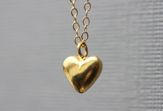 Gold Heart Necklace Puff Heart Gold Heart Pendant Valentine Heart Necklace