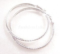 New Women 2 in1 No Stone White Gold Plated Big Girl 5cm Modern Hoops Ear... - $12.83