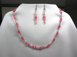 Pink Cat's Eye Oval Bead Necklace and Earring Set Handmade - $24.00