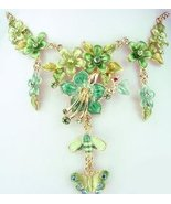 Necklace & Earrings Set Emerald Green Floral with Crystals, Butterfly, H... - $38.99