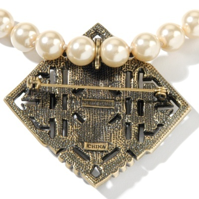 Heidi Daus Pin Pendant with 16 inches Simulated Pearl Necklace