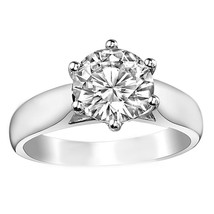 0.50CT 14K White Gold Round Cut Moissanite Trellis Solitaire Engagement Ring - $357.37